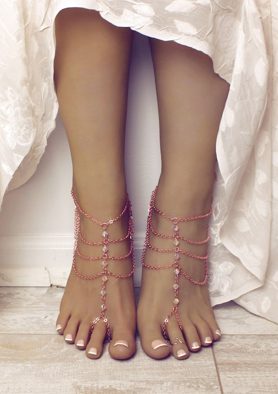 Madison Barefoot Sandals Rose Gold Bare Sandals Rose Gold