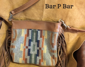 Sold but I can make another one for you . Fringed Pendleton Wool and Leather Crossbody Purse Handbag