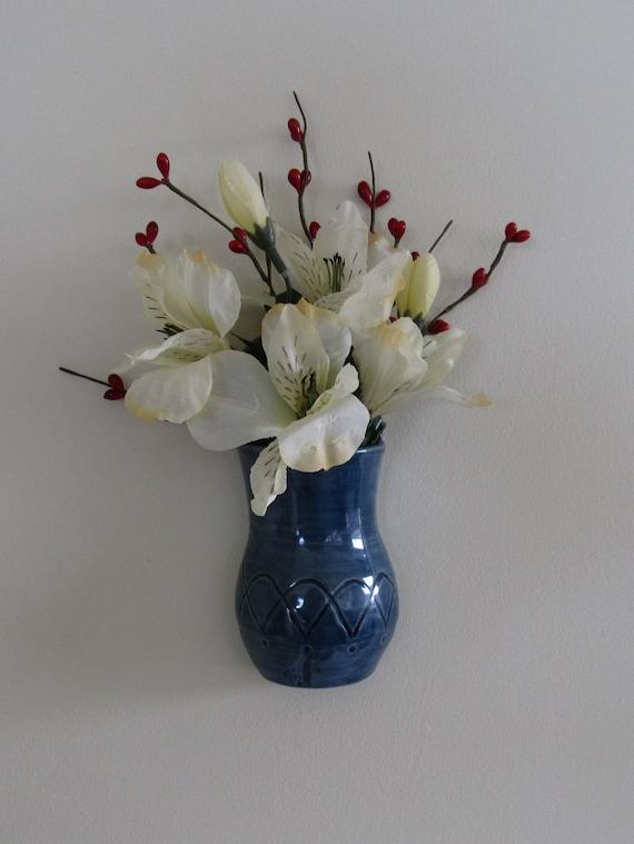 Ceramic Wall Vase Blue Wall Vase Wall Pocket Handmade Wall