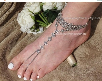 Ethnic jewelry barefoot sandal foot jewelry slave anklet barefoot jewelry beach wedding sandals tribal foot chain toe ring anklet