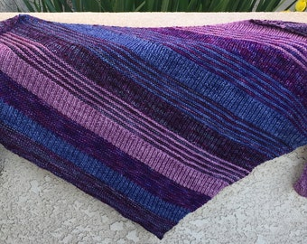 Hand Knit Shawl: Cascading Color Stripes