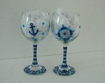 Nautical Wine Glasses,  His & Her Glasses, Nauti Girl Bad Buoy,  Beach Glasses,  Hand Painted Wine Glasses, Anchor Glasses, Wine Gift