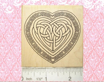 Large Celtic Knot Heart Rubber Stamp Wedding Valentine's Day Love  #447