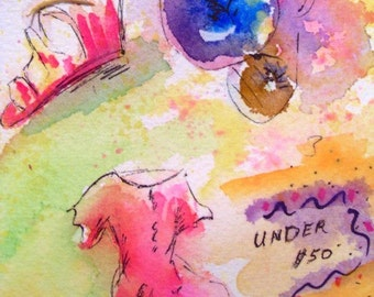 Original Pen and Ink With Watercolor - UNDER FIFTY DOLLARS - Small Art Format - Thoughts Series - Art By Rodriguez