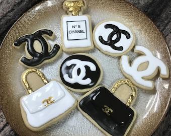 12 Black, Gold and White Designer Sugar Cookies