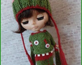 "PDF knitting pattern - Zombie dress and brains hat for 12"" Blythe"