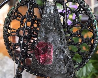 Rare Spinel and Black Aventurine Pendant