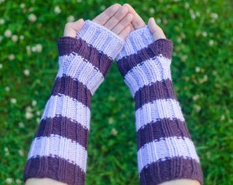 Striped Arm Warmers - Hand Knit Warmers, Texting Warmers, Knitted Arm Warmers, Fingerless Hand Warmers, Purple Arm Warmers, Handknit Warmers