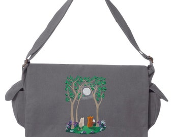 Moonlit Summer Kitty Fox Embroidered Canvas Cotton Messenger Bag