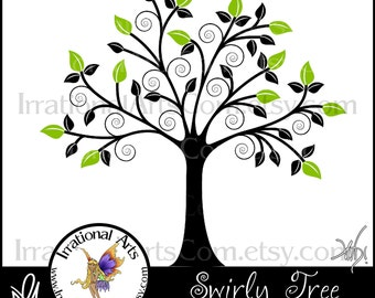 INSTANT DOWNLOAD Swirly Tree 1 Vinyl ready vector digital image