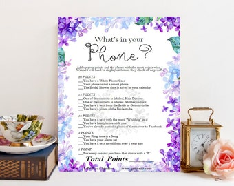 What's in your Phone game, Wedding bridal shower game, purple lavender, blue lilac hydrangea, instant download, printable