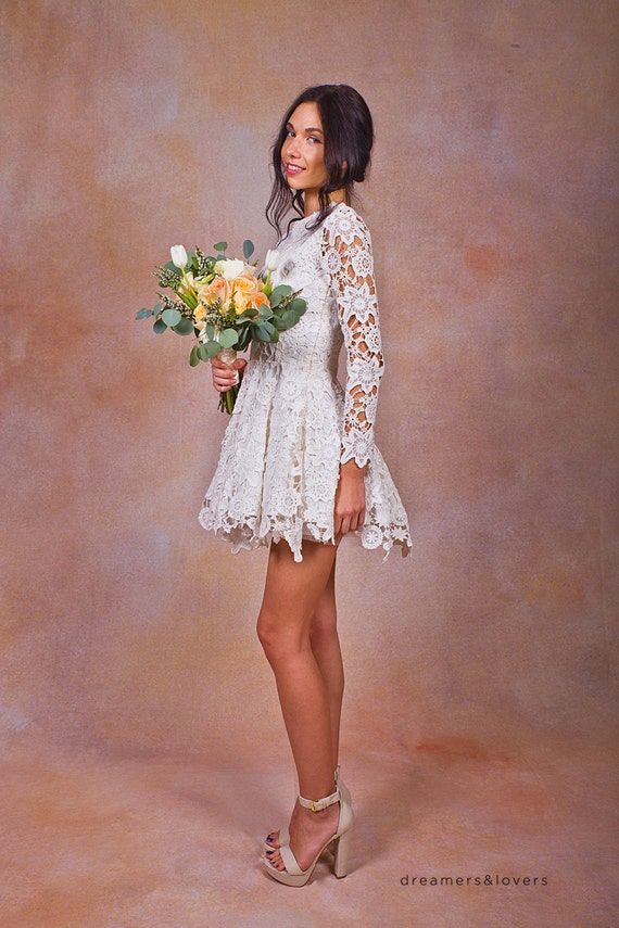 Daniela Lace SHORT WEDDING DRESS. ivory or white crochet lace