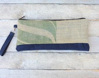 Burlap Clutch Purse - Burlap Wristlet - Waxed Canvas Clutch - Burlap Tote - Waxed Canvas Wristlet - Zipper Clutch