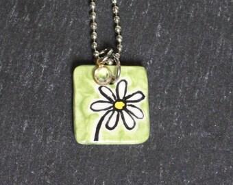Daisy pendant, handpainted ceramic pendant, stainless steel chain, rhinestone pendant, gift exchange, secret santa, sister, mom, friend