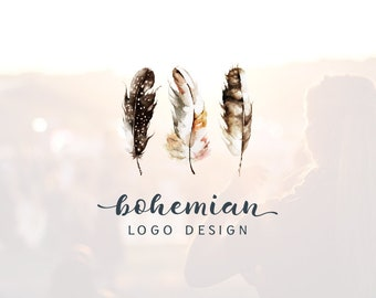 Feather Logo | Photography Logo & Watermark | Boho Logo | Script Logo | Minimalist Logo | Feminine Logo | Typography Logo | Bohemian Logo