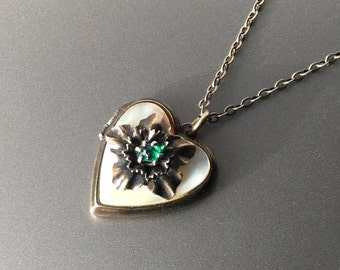 Vintage Gold Filled Heart Locket with Green Stone and Mother of Pearl Necklace - Sweetheart Etched Heart Locket
