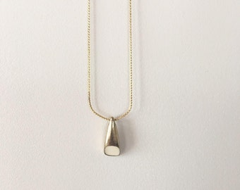 90s Gold Tone and White Geometric Pendant / Vintage Charm Necklace