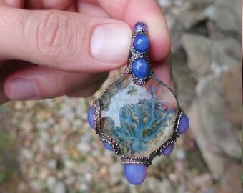 Blue Handmade Implosion Tree Pendant