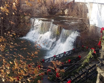 Chagrin Falls Waterfalls Color Metallic Print 8x10, 11x14, 20x24, Chagrin Falls Photography, Home Decor, Cleveland Photography, Ohio