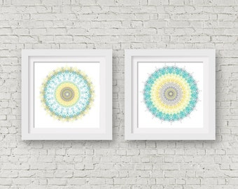 Wall art set of 2 prints mandala art teal wall art grey and yellow kitchen decor bohemian wall decor geometric art aqua print 8x8 boho decor