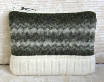Forest Green and Cream Wool Zip Pouch, Small Clutch in Recycled Sweater Wool