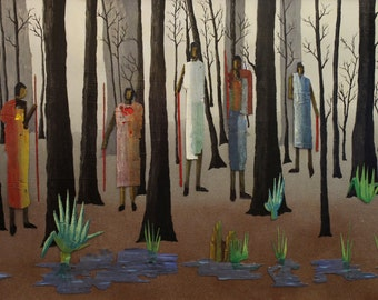 Choctaw,  People/Landscape, Giclee Of An Original Mixed Media Painting By M. P. Moncada