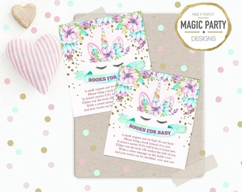 Unicorn Bring a book instead of cards, Baby shower Book request cards, Book request insert, Girl Baby shower