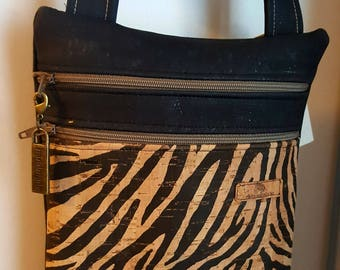 Vegan corkZip 'n Go Bag/travel bag w cross body strap/slim line bag/Natural cork/gift/made on Vancouver Island Canada