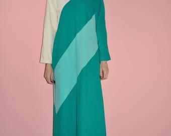 Vintage 60s 70s Green Mid Century Mod Color Block Robe Maxi House Dress M