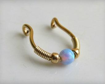 Fake Septum Ring / Fake Opal Septum Cuff / fake piercing - Non Pierced Septum