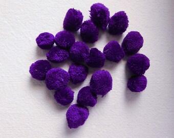 Purple Pom Poms, 20mm Pom Pom Balls, Yarn Pom Poms, Party Pom Poms