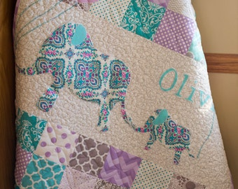 Personalized, Modern, Handmade Baby Quilt for Sale, Custom Baby Heirloom