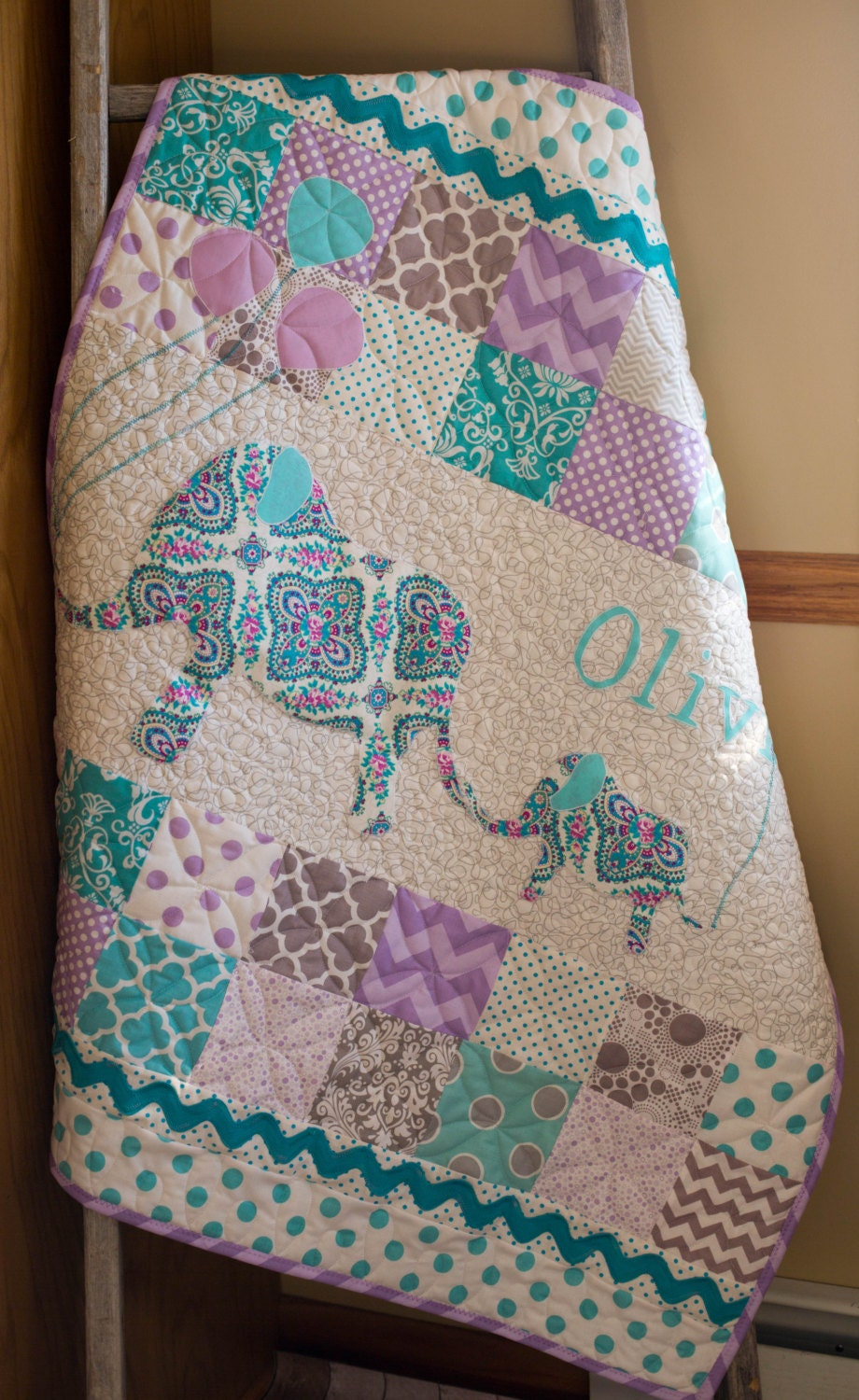 Personalized Modern Handmade Baby Quilt For Sale Custom