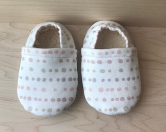 Pastel polka dot baby moccasins
