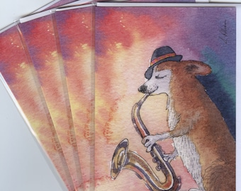 4 x Welsh Corgi dog greeting cards - and all that jazz