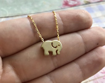 Gold Elephant Necklace, Elephant Bead, Elephant Jewelry, Minimal Necklace, , Gift For Her, Gift Under 30