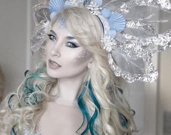 Mermaid silver crown-headdress-blue shell