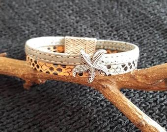Vegan Cork leather bracelet star fish