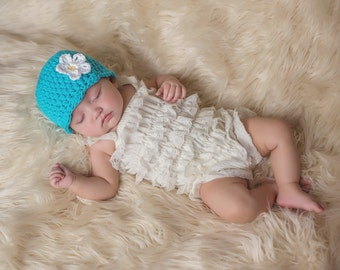 Baby Girl Hat 0 to 3 Month Turquoise Blue Baby Hat Turquoise Baby Hat Baby Beanie Crochet Flower Hat Spring Photo Prop Photography Prop