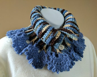 Blue & Tan Lacy Crocheted Neck Warmer Scarf in Satin Soft Variegated Yarn