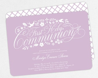 First Communion Invitation, First Holy Communion Invitation, Religious, Print, PDF, DIY Communion Invitation, Floral, Dove, Purple, Marilyn