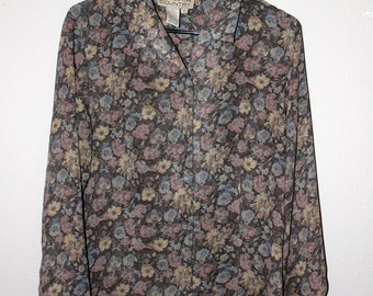 grey/green Floral button-down