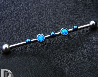 Industrial ear blue opals and blue beads for ear bar