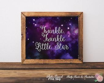 Twinkle, Twinkle Little Star Quote Wall Art - Night Stars Nursery Wall Decor - Instant Download