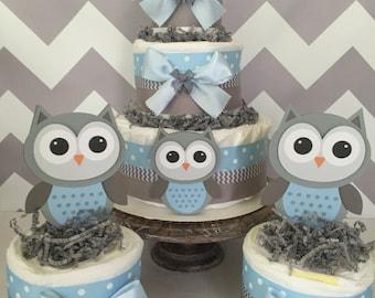 owl diaper cake etsy. Black Bedroom Furniture Sets. Home Design Ideas