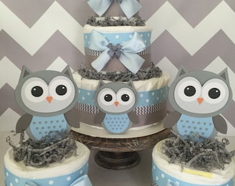Set Of 3 Owl Diaper Cake Centerpieces In Blue And Gray, Owl Baby Shower  Decorations For Boys