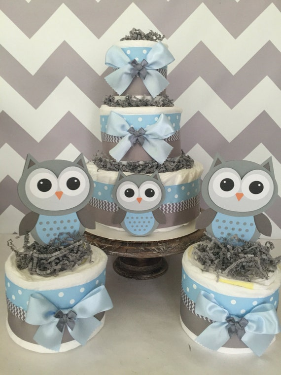 set of 3 owl diaper cake centerpieces in blue and gray owl. Black Bedroom Furniture Sets. Home Design Ideas