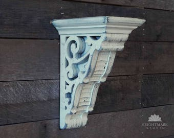 Wood Corbel Shelf { Mantle Bracket } Decor for Home and Living painted in Antique White. Use for shelf Bracket or Candle Sconce. PN0012