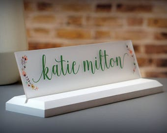 Desk Accessories Wooden Desk Name Plate -makes a great Teacher or Employee Gift 10x2.5