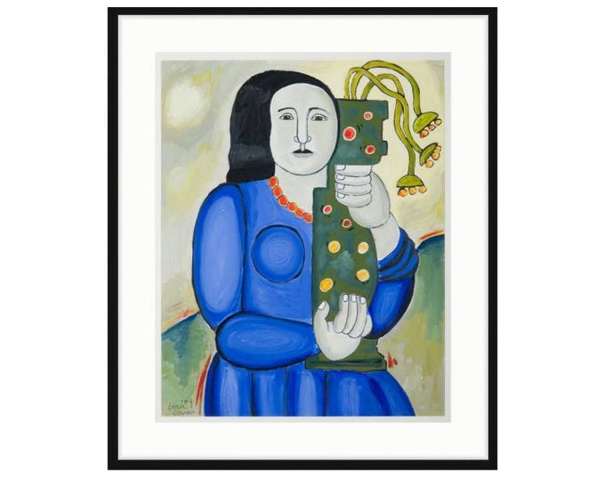 Woman With Vase by Liza Leger aka Liza Cowan. Printed and framed.  22.25 x 26 FREE SHIPPING